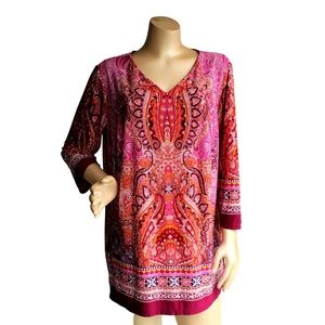 Red Paisley Stretchy Tunic Shirt Top